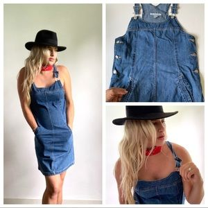 Dresses & Skirts - Denim Jean Overall Dress Side Buttons Pockets M